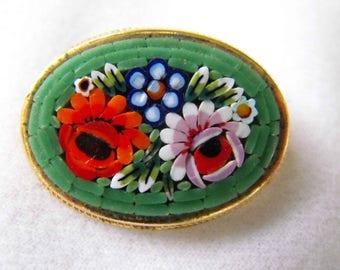Vintage Brooch, Micro-Mosaic, Flower Design, Goldtone Setting, ca 1960s NT-1452