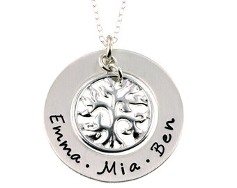 Personalized Family Names Hand Stamped Tree of Life Necklace - Hand Stamped Jewelry ByHannahDesign