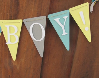 Yellow, Gray, Turquoise/Teal, and white Its a Boy Banner, Baby Shower Banner, Baby Shower Decorations,