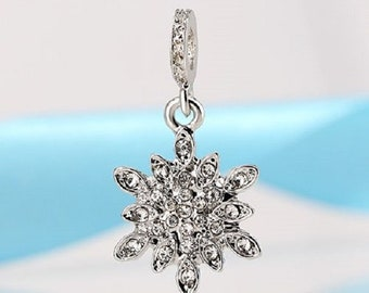 1 Silver Snowflake with Clear Crystals Charm Bead Fits European Style Bracelet -