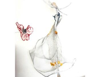 Art Deco Lady with hat / Metal Mesh, wire crochet & amber sculpture OOAK