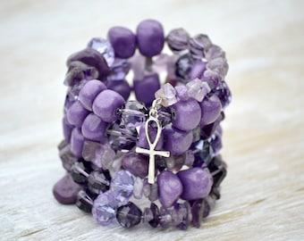 Purple Bracelet, Afrocentric Bracelet with Silver Ankh, Amethyst and Jade Bracelet, Memory Wire Bracelet, Wrap Bracelet, Gemstone Jewelry