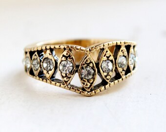 Vintage Edwardian Style Ring Antique 18 kt Yellow Gold Electroplated Band set with Clear Swarovski Crystals  Made in USA #R1288