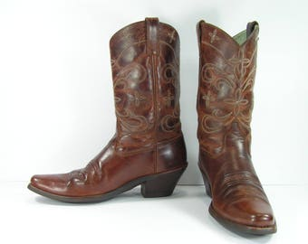 vintage cowboy boots women's 9.5 brown leather ariat western cowgirl