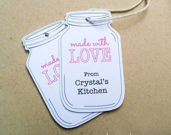Personalized Mason Jar tags - Made With Love tags - Baking Mason Jar Tags - Favor tags for treats (TM-11)