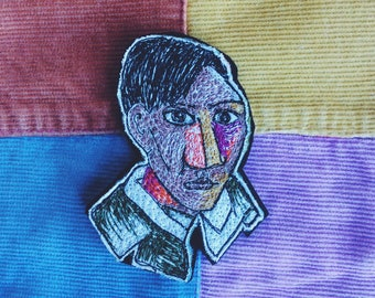 Picasso - Self Portrait - sewn face - brooch - wearable art