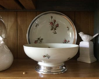 Vintage Rosenthal Germany Moss Rose Sterling silver footed serving bowl and serving dish,plate,Aida,Selb,