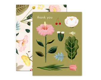 Pastel Blossoms Thank You Card - Olive