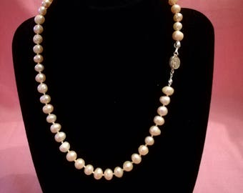 "Beautiful, hand-knotted pale pink fresh water pearls with sterling silver clasp. 17"" - gifts for her/wedding/bridesmaid p004"