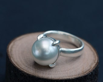White Pearl Ring - Pearl Engagement Ring -  White Pearl set in Sterling Silver - White Pearl Claw Ring - Made to Order - FREE SHIPPING