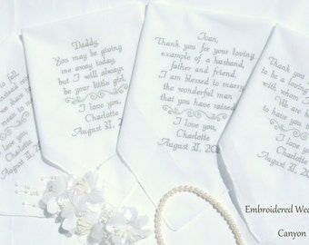 Embroidered Wedding Handkerchiefs Set of Four by Canyon Embroidery