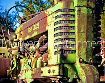 John Deere Photography Photo Tractor Green Farm Picture Wall Art Home Decor Country Ranch American America Old Vintage Instant Download