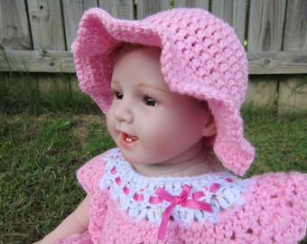 Baby Girl Sunhat, Crochet Sunhat, Pink Sunhat, Pick your color Sunhat, 0-6 month sunhat, 6-12 month hat, 12-18 month hat, 18-24 month hat