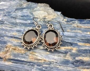 Smokey Topaz Earrings // 925 Sterling Silver // Hook Backing //  Smokey Topaz Hydro Quartz Earrings
