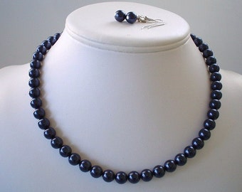 Single Strand Navy Blue Swarovski Pearl Beaded Necklace and Earring Set    Great Brides or Bridesmaid Gifts