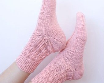 Hand knitted womens wool socks fishnet for her pink pastel