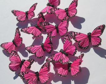 Butterfly Hair Clip SOLD INDIVIDUALLY  pink and black Monarch feather butterfly handmade hair clips by Ziporgiabella sold individually