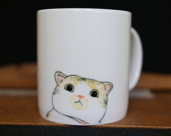 Hand painted animal mug cup - Cute mug cup -Cat mug cup- Cat mug