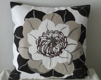 Black and Grey Flower Pillow Cover 20x20