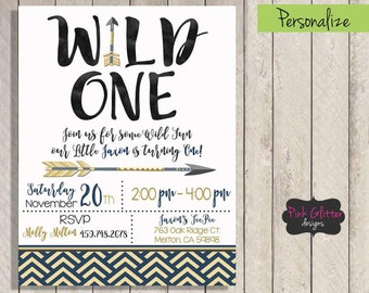 Wild One Invite, Wild One Invitation, Wild One Birthday, Wild One Party, Wild One, First Birthday, First Birthday Invite, DIGITAL FILE