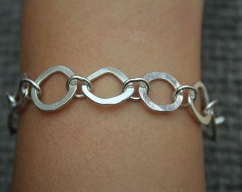 Shapes Link Bracelet in Sterling Silver, Hallmarked