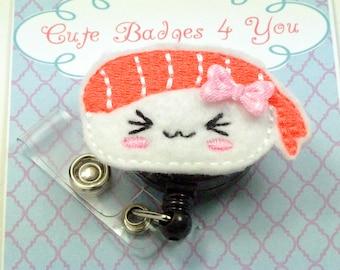 Sushi Badge Reel | Paper Clip | ID Badge Reel | Felt Badge Reel | ID Holder | Retractable | Paper Clip | Magnet | Brooch | Bookmark