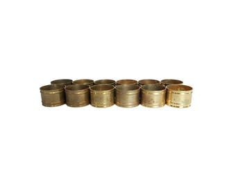 Vintage Gold Brass Round Napkin Rings Set of 12