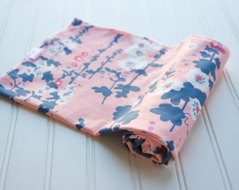 Knit Swaddle Receiving Blanket: Light Pink, Navy Blue, White, Coral, Purple Floral Blanket