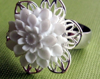 White Flower Ring, Adjustable Ring, White Rose Ring, romantic style ring, Silver Band