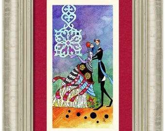 Romantic Jewish wedding anniversary gift 'Spring Dance' Art PRINT Judaica wall art