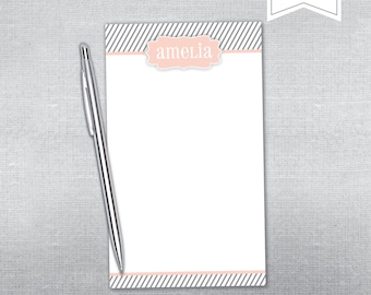 Personalized Notepad. Stripe and quatrefoil notepad.