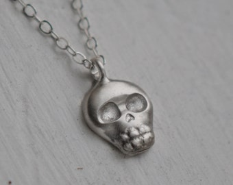 Baby Skull Necklace, Mini Skull, Brushed Sterling Silver, Handcrafted, Day of the Dead, Skeleton, Halloween. BABY SKULLY NECKLACE.