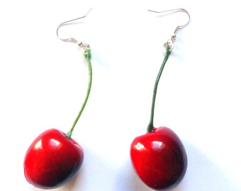 10% off with the code BDAY10  Large Red Cherry Earrings - Rockabilly, Pin Up