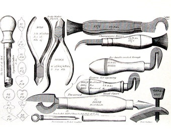 18th - 19th Century Tools - Soda Water Pliers, Champagne Knives, Meat Case Knives, Sportsman Turnscrews - 1993 Vintage Book Page - 9.5 x 7.5