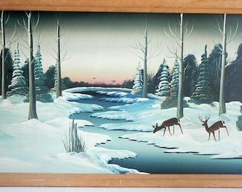 Winter Snow Scene With Deer Painting