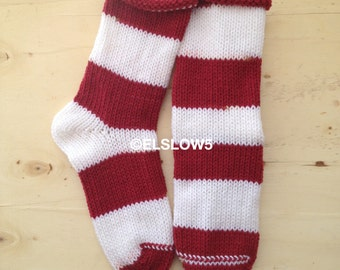 Handknit Socks in Bold Stripes of Red and White 1 pair fits US adult size 7 to 9 Fabulous Funky Footwear