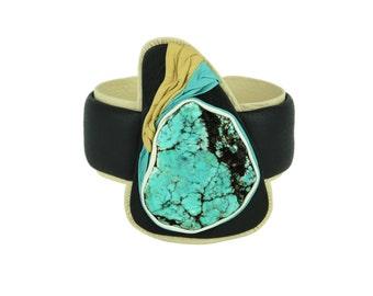 Bulky Leather Bracelet | Turquoise Bangle | Leather Jewelry | Turquoise Bracelet | Turquoise Bangle | Adjustable Bangle |