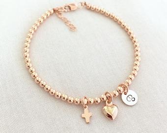 Rose Gold Baby Baptism Bracelet, Cross Bracelet, Christening Jewelry, First Communion Gift, Religious Bracelet, Heart, Gold Fill, Silver