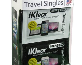 iKlear Travel Singles with Wet and Dry Wipes Plus Microfiber Cloth (iK-SP12) - Perfect for cleaning your Clique Platinum Case or Skin