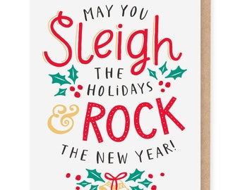 Sleigh The Holidays & Rock The New Year card