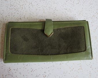 Vintage Olive Green Leather and Suede Rolfs Checkbook Sized Wallet with Built in Change Purse