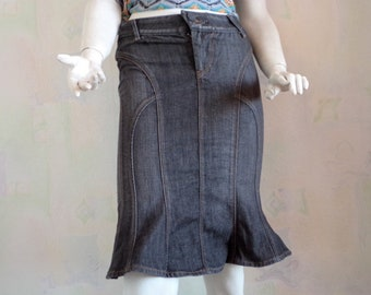 Vintage 90's Denim Skirt, Dark Denim High Waist Skirt, Dark Blue Jeans Skirt