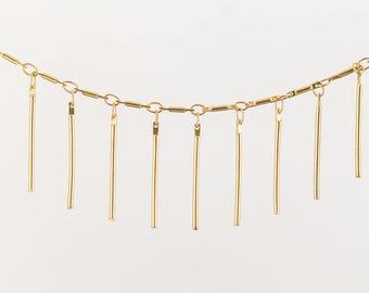 Matte Gold 25mm Bar Drop Chain #CC134