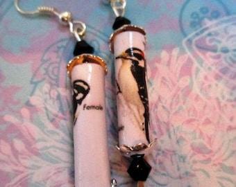 Paper Bead Earrings - Woodpecker - paper jewelry