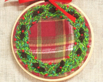 Christmas Hand Embroidery Hoop Art, Embroidered Art, Wreath, Wil Shepherd Studio, Holiday Decor, Handmade, Embroidered, Decoration,Hand Sewn