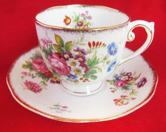 Vintage ROSLYN 'Minuet' Bone China 'Roses & Flowers' Cup and Saucer