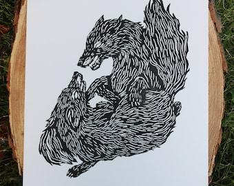Wolves Lino Print
