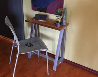 Small Desk Live Edge wooden and metal combination assemblage