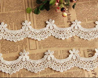 """10 yard 2cm 0.78"""" wide ivory cotton scallop embroidered lace trim ribbon tapes r6yjg2 free ship"""