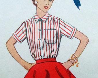 Blouse Vintage Pattern 1950s Blouse Red Candy Stripes Ephemera Mad Men 1953 Simplicity 4256 Puff SS LS 13 Bust 31 Waist 25 26 Hip 34 SaLe